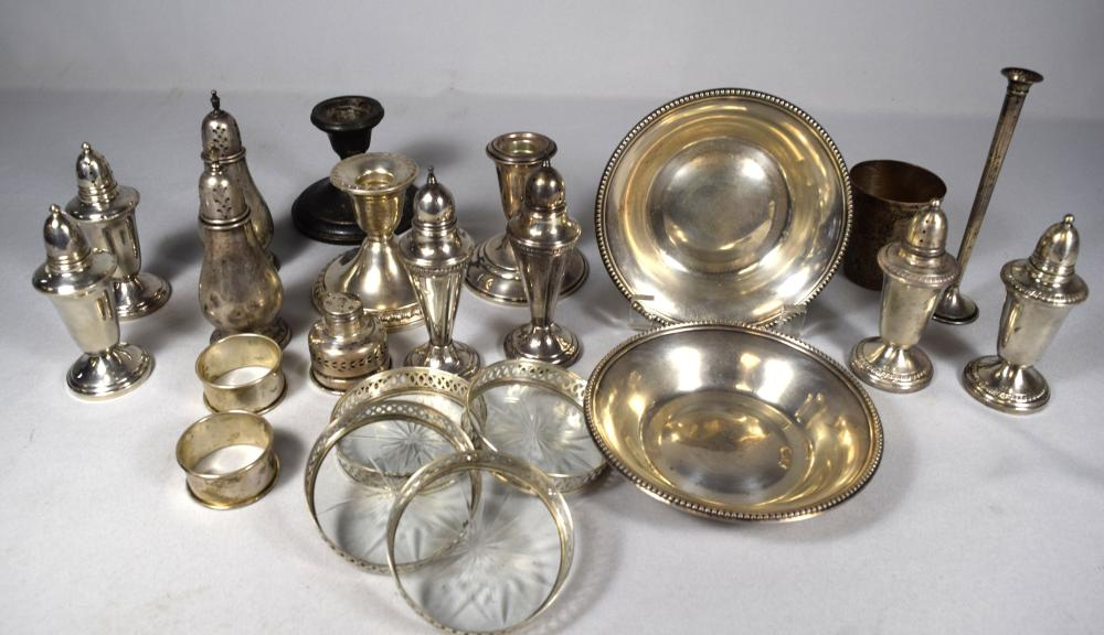 STERLING SILVER & STERLING WEIGHTED TABLE ITEMS: