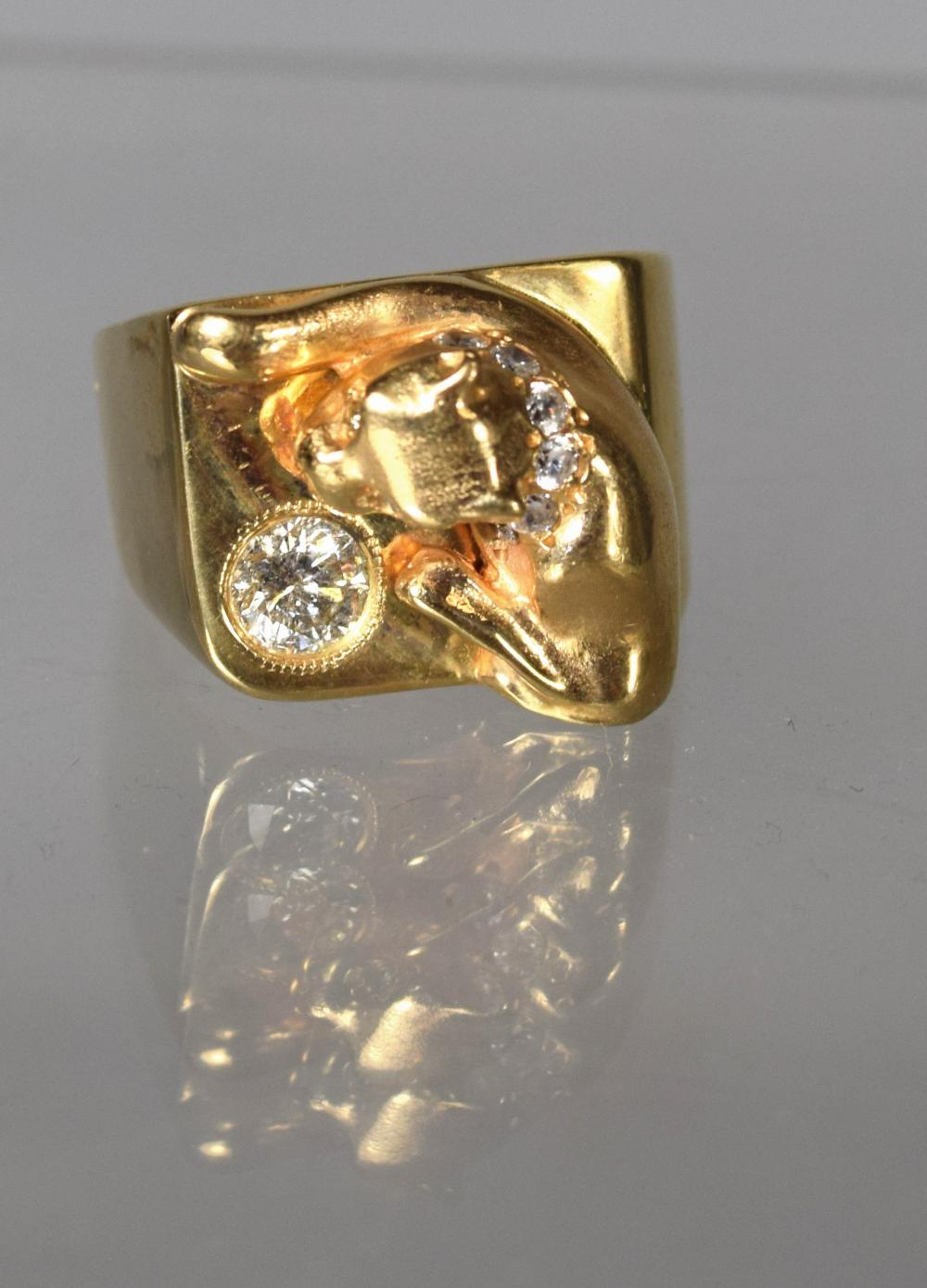 VINTAGE 14KT GOLD & DIAMOND CAT or DOG RING: