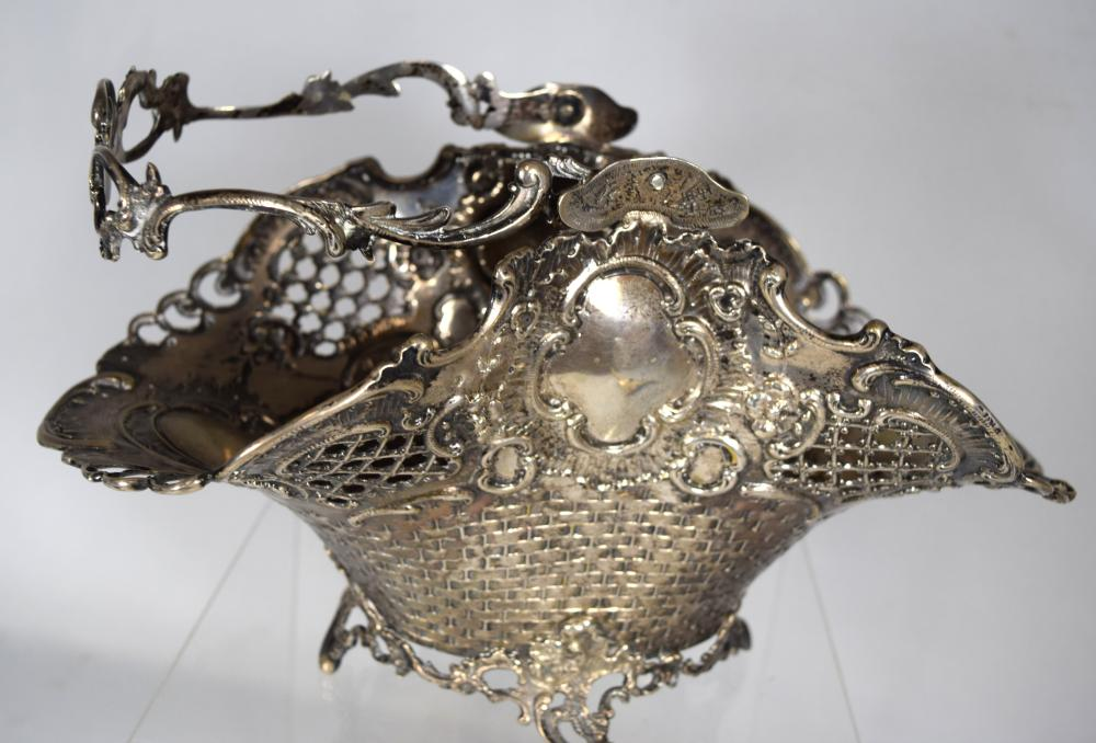 ORNATE EUROPEAN SILVER BASKET: