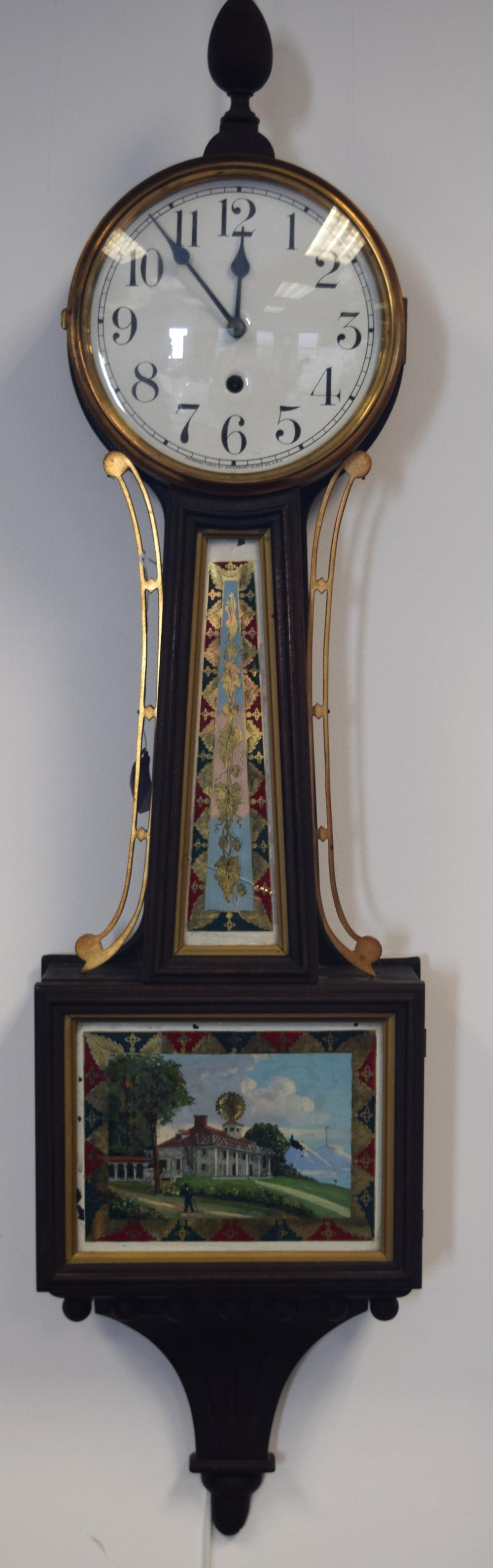 WATERBURY WILLARD PATENT MOUNT WASHINGTON HANGING BANJO CLOCK: