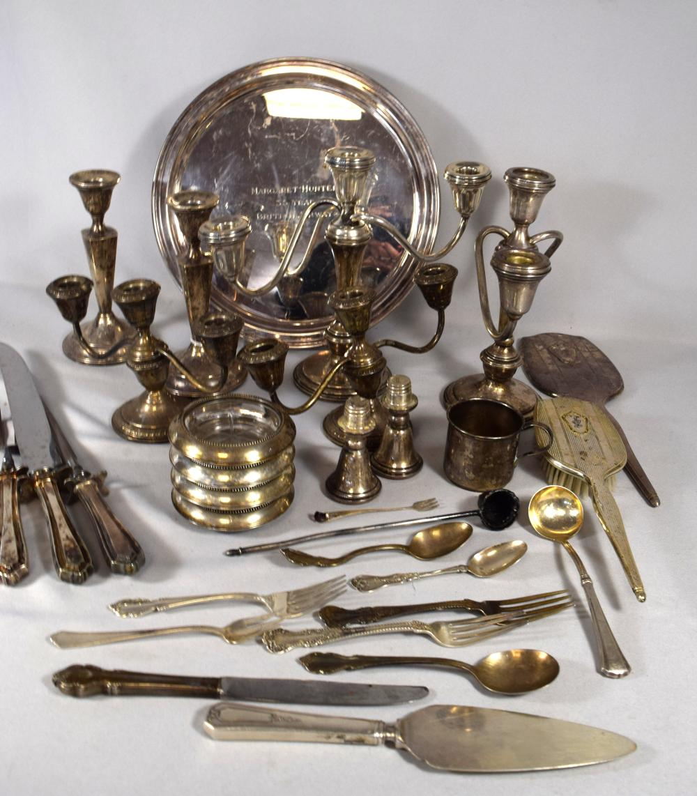 LARGE GROUPING OF WEIGHTED STERLING SILVER, STERLING FLATWARE, SILVER PLATED TIFFANY TRAY: