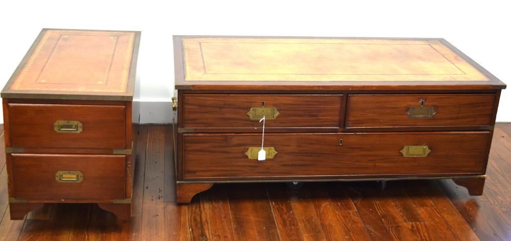 TWO LEATHER TOP CAMPAIGN STYLE CHESTS:
