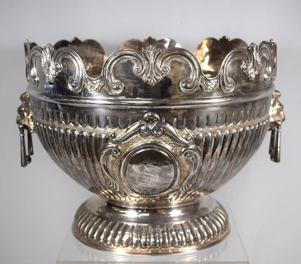 EDWARDIAN STERLING SILVER MONTEITH PUNCH BOWL: