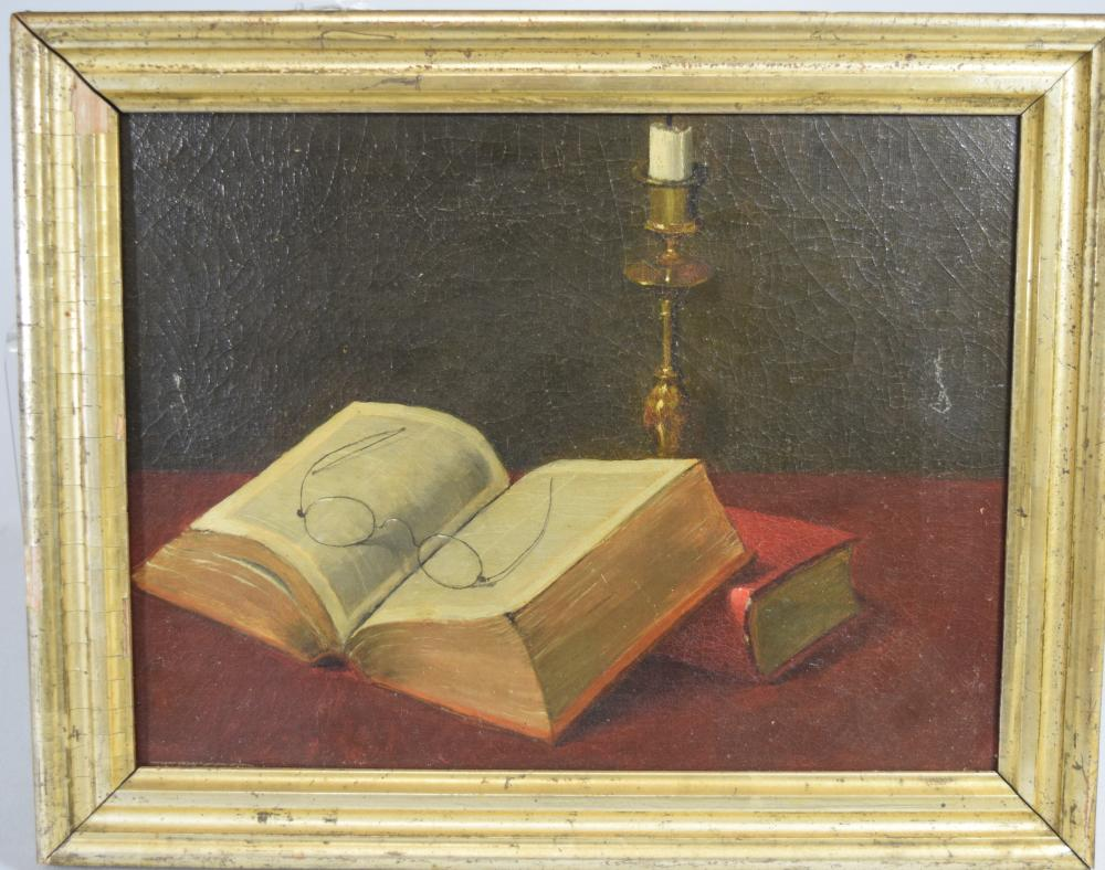 STILL LIFE TROMPE LE OIL PAINTING:
