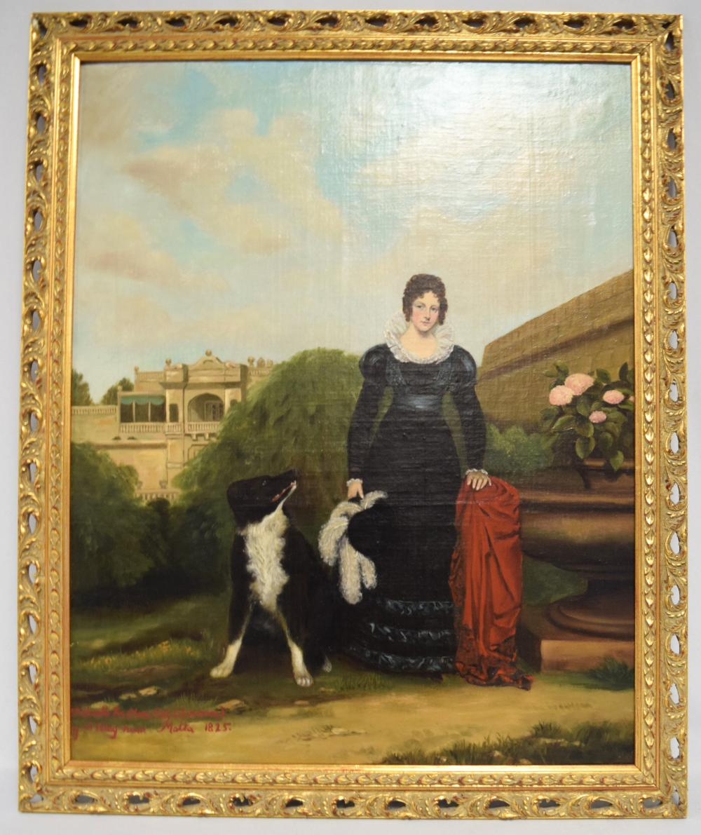 19TH C EUROPEAN SCHOOL OIL PAINTING OF LADY MARY FOX FITZCLARANCE of MALTA:
