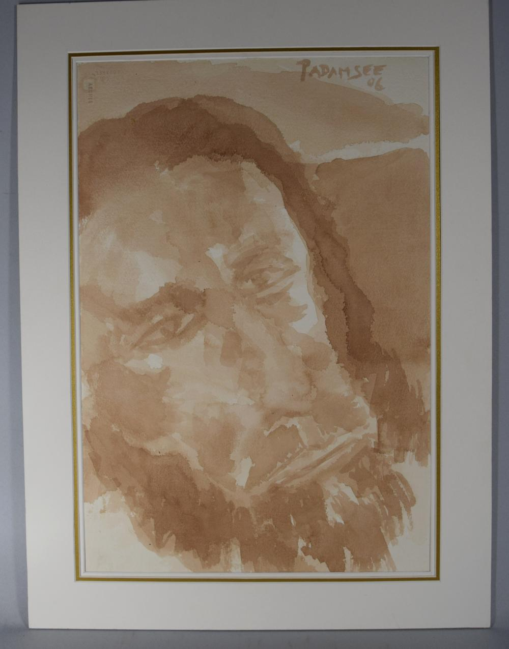 AKBAR PADAMSEE SEPIA WATERCOLAR PORTRAIT OF A BEARDED PRIEST: