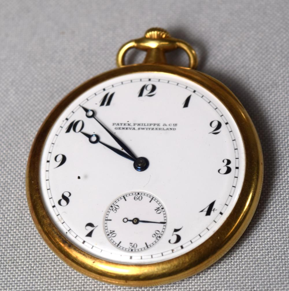 18KT YELLOW GOLD PATEK PHILIPPE OPEN FACE POCKET WATCH: