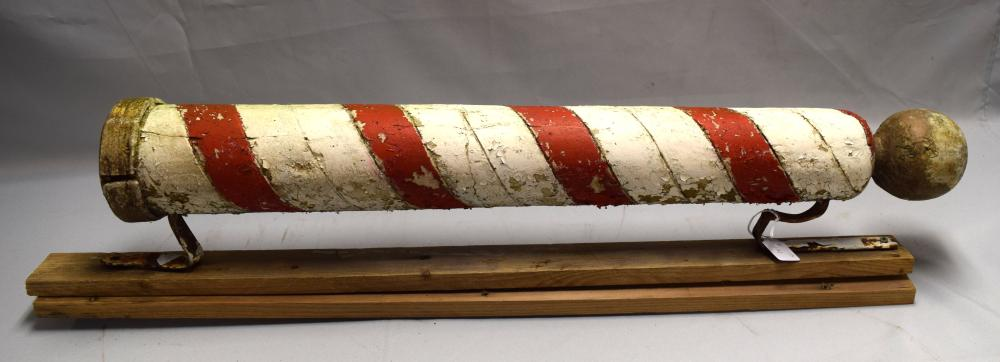 ANTIQUE RED & WHITE BARBER POLE: