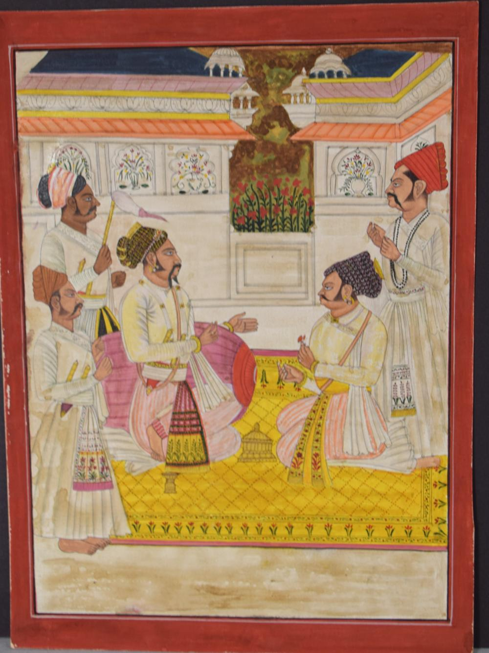 INDIAN MINIATURE PAINTING COURT SCENE: