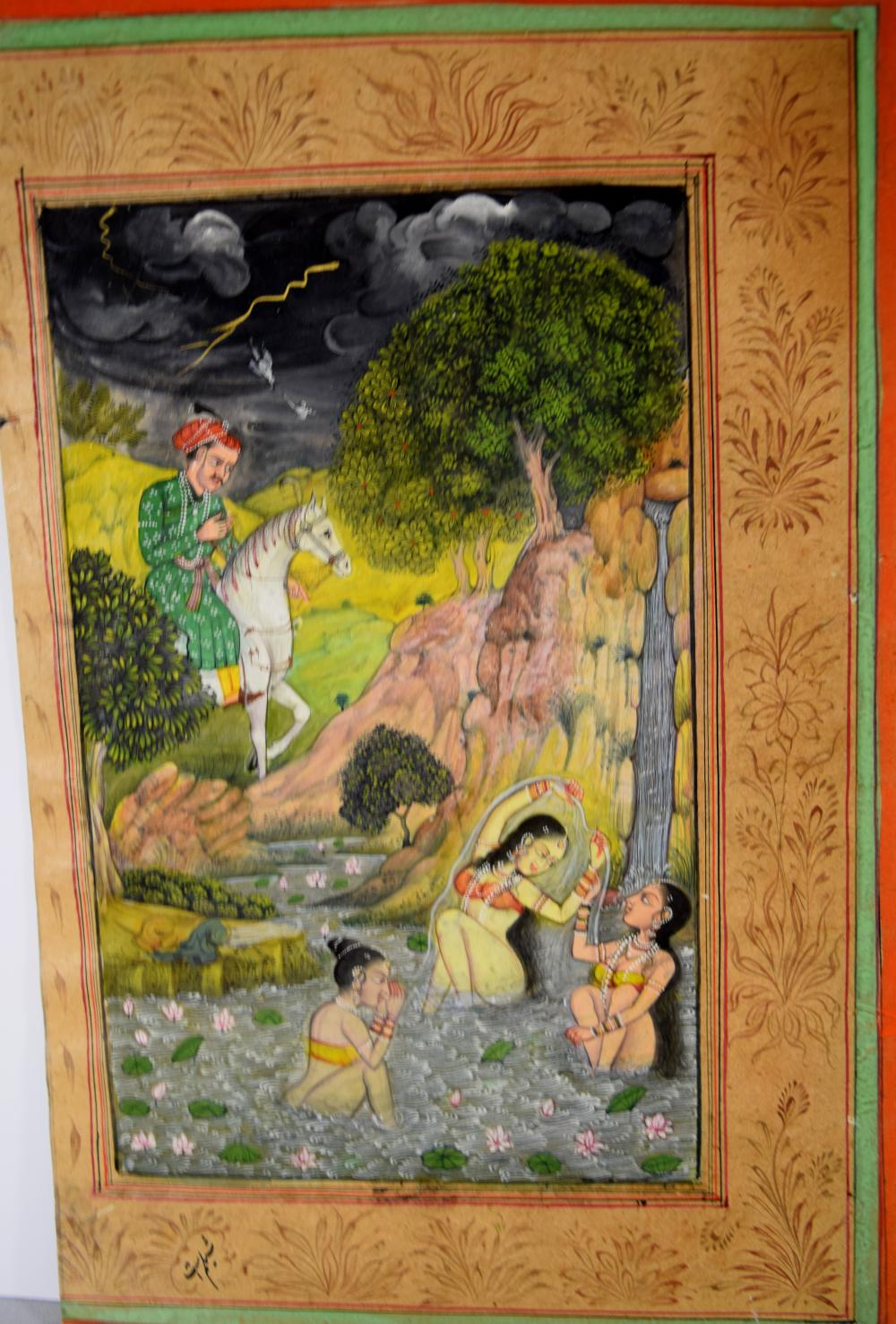 INDIAN MINIATURE PAINTING BATHERS: