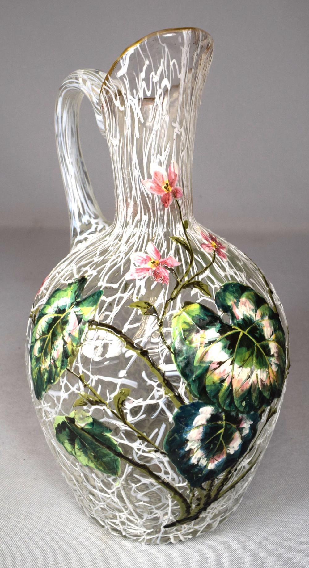 RARE 1800s BOHEMIAN PELOTON ART GLASS HARRACH THREAD & ENAMEL