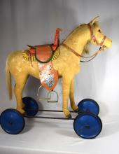 STEIFF HORSE ON WHEELS: