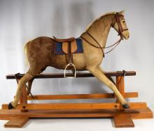 ANTIQUE GERMAN HIDE COVERED GLIDER ROCKING HORSE: ANTIQUE CHILD?S ROCKING HORSE RIDING TOY: