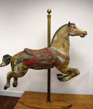 EARLY ANTIQUE CARVED CAROUSEL HORSE:
