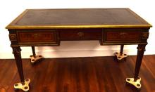 19TH C ENGLISH or FRENCH LEATHER TOP WRITING DESK: