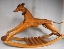 CHILD?S FOLK ART GREYHOUND RACING DOG ROCKING TOY: