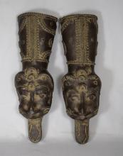 PAIR INDIAN BRONZE ELEPHANT HAND GUARDS: