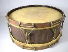 1887 GJ EARLY BRASS SIDED SNARE DRUM: