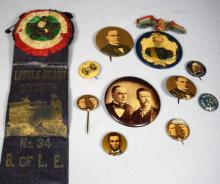 LATE 19TH C POLITICAL CAMPAIGN BUTTONS, ETC:
