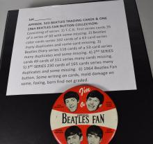 APPROXIMATELY 523 BEATLES TRADING CARDS COLLECTION from all  FIVE SERIES & 1964 BEATLES FAN BUTTON: