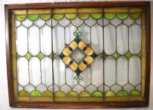 VICTORIAN LEADED STAINED GLASS WINDOW: