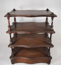 19TH VICTORIAN DRESSER or TABLE TOP MAHOGANY WHAT-NOT-SHELF:
