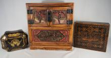 TWO CHINESE EXPORT BOXES & SMALL CARVED TABLE TOP CABINET: