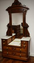 ANTIQUE VICTORIAN RENAISSANCE REVIVAL STEP-DOWN MARBLE TOP DRESSER WITH MIRROR: