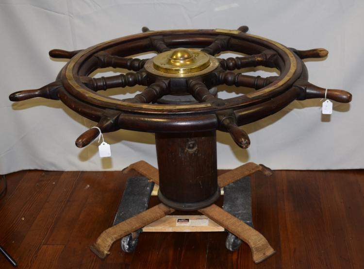 19th 20th Spoke Ships Wheel Coffee Table