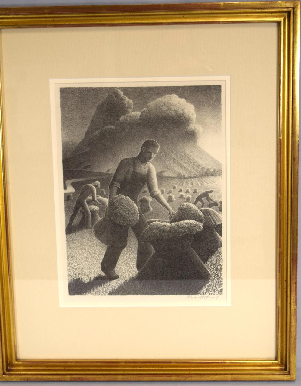"""GRANT WOOD SIGNED LITHOGRAPH """"APPROACHING STORM""""."""