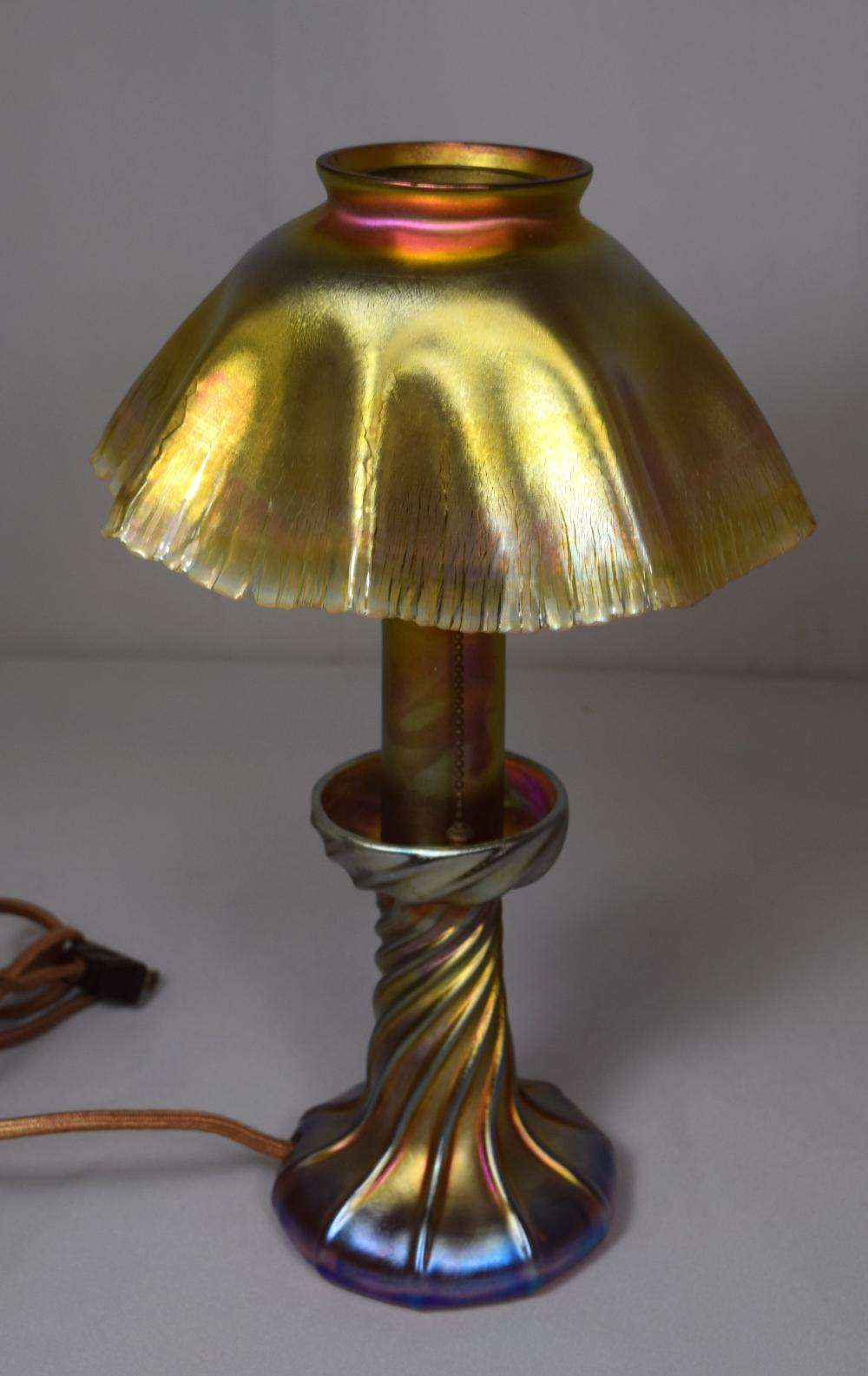 SIGNED LOUIS COMFORT TIFFANY FAVRILE CANDLE LAMP: