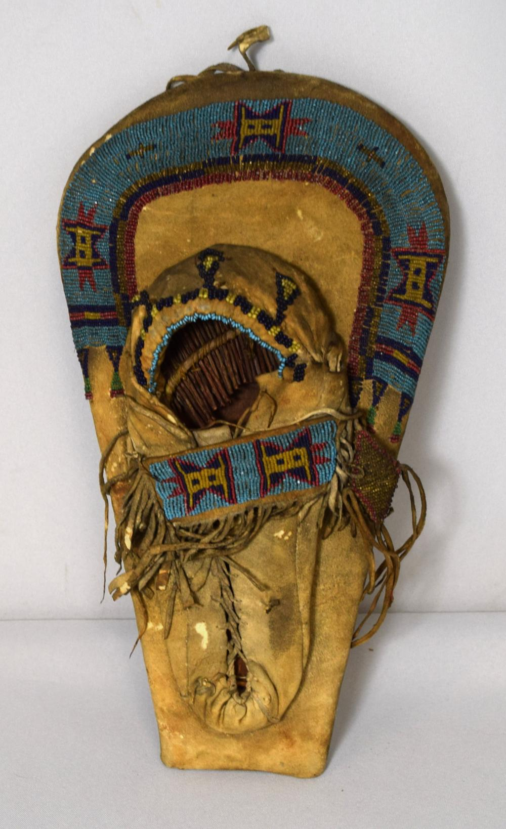 19TH C NATIVE AMERICAN INDIAN BEADED MINIATURE OR DOLL EFFIGY CRADLEBOARD: