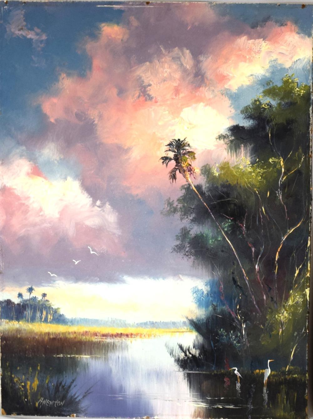 "FLORIDA ""HIGHWAYMEN"" HAROLD NEWTON OIL ON BOARD:"
