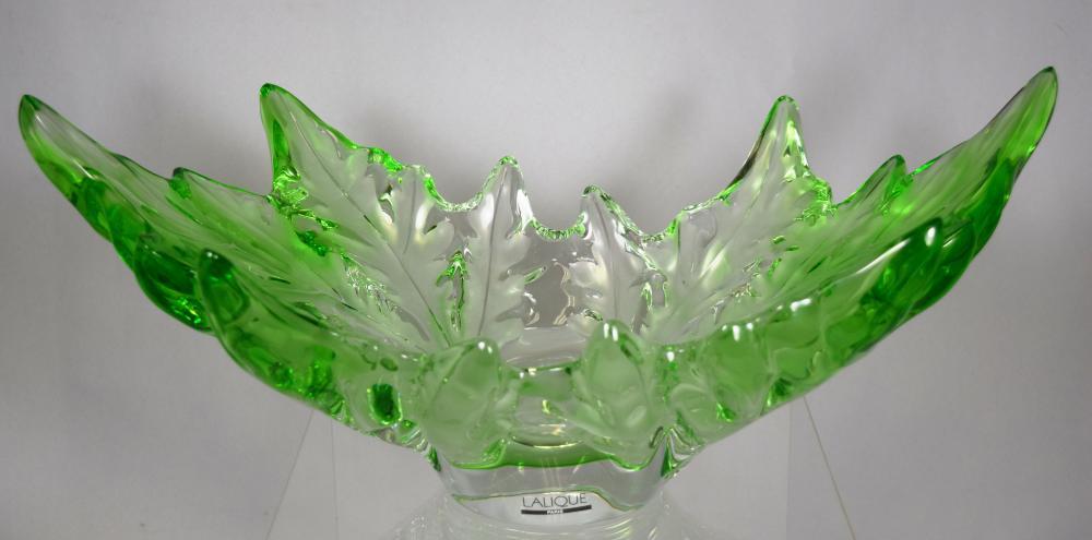 LALIQUE CHAMPS ELYSEES ART GLASS CENTER BOWL: