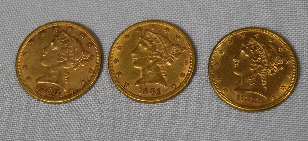 THREE CONSECUTIVE DATES FIVE DOLLAR US LIBERTY HALF EAGLE GOLD COINS: