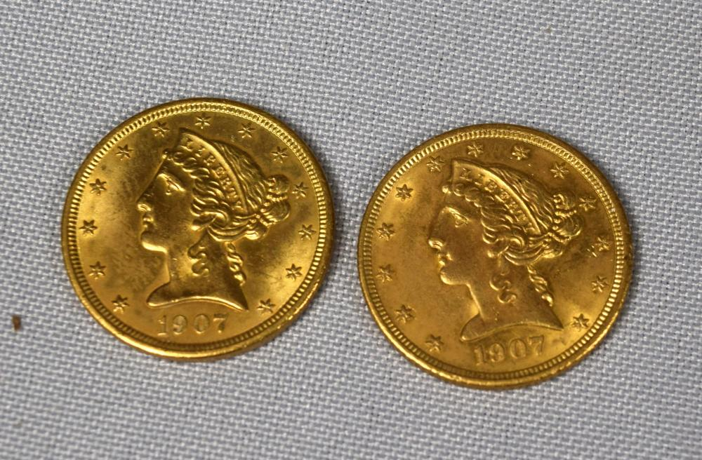 TWO FIVE DOLLAR US LIBERTY HEAD HALF EAGLE GOLD COINS: