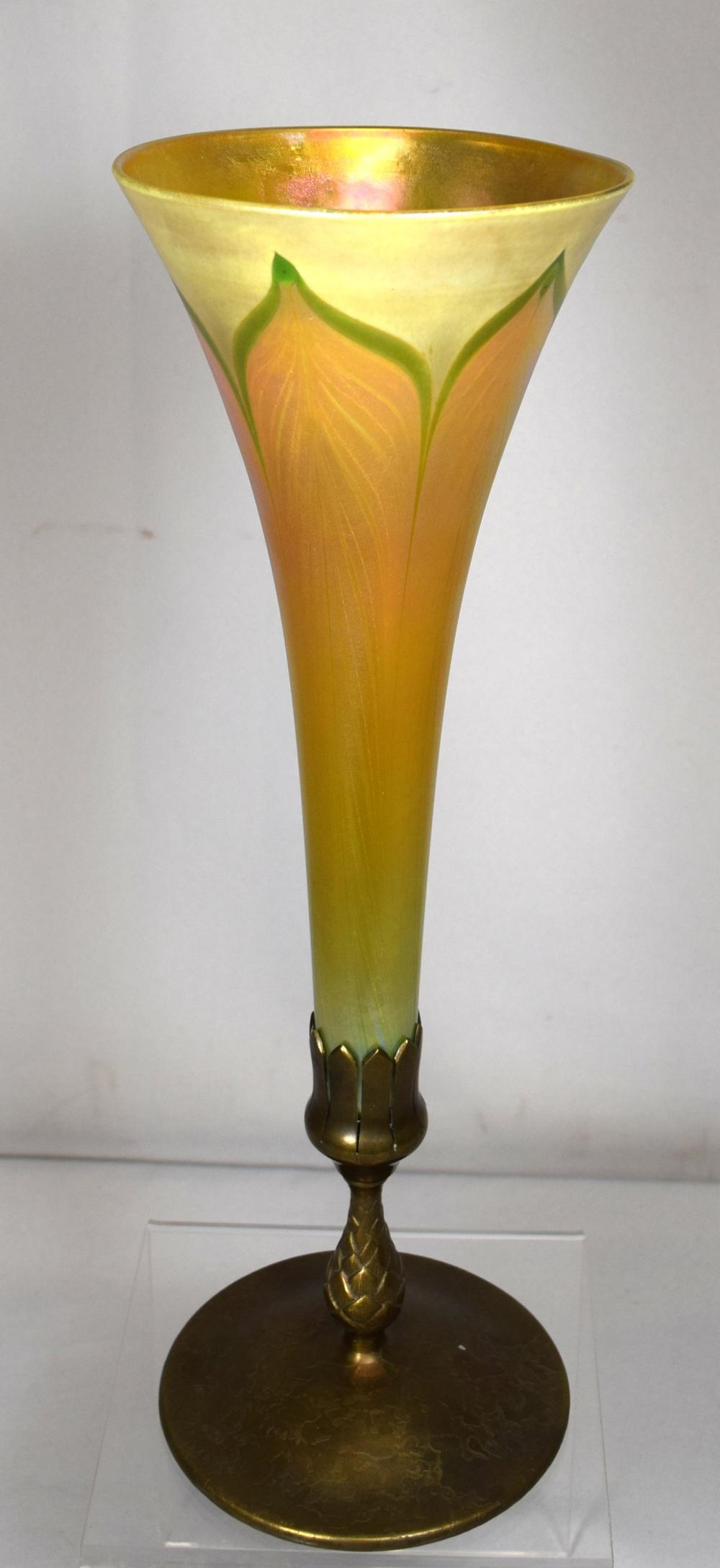 TIFFANY BRONZE MOUNTED PULLED FEATHER FAVRILLE TRUMPET VASE: