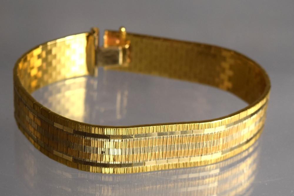 18KT TRI COLOR GOLD BRACELET:
