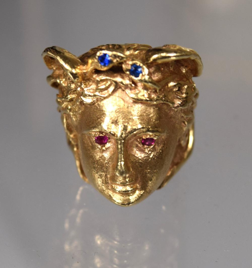 14KT FIGURAL MEDUSA HAND MADE GOLD RING: