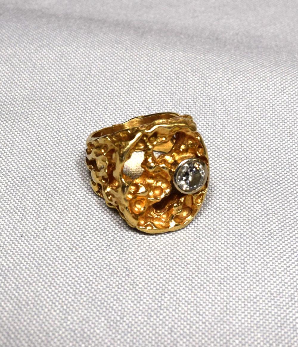 14KT GOLD NUGGET & DIAMOND RING: