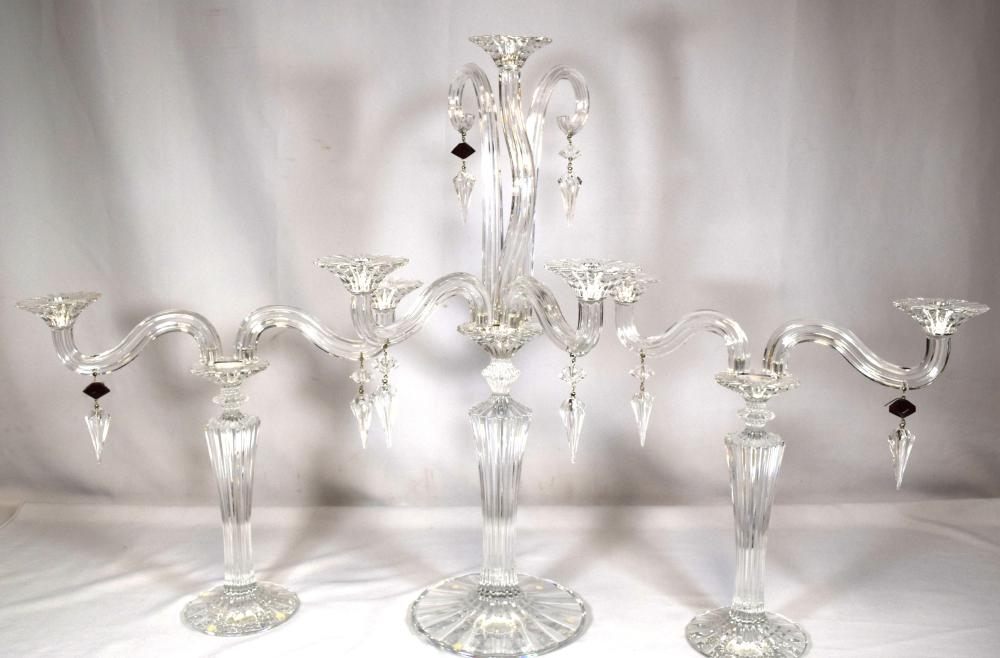 FRENCH BACCARAT MILLE NUITS MATHIAS CANDELABRA & TWO LIGHT CANDELABRAS: