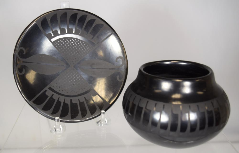 TWO SAN ILDEFONSO BLACK WARE POTTERY PIECES: