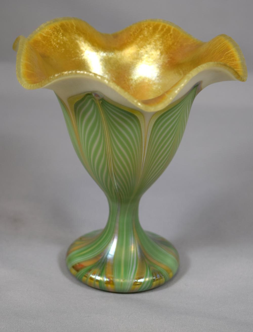 QUEZEL IRIDESCENT GOLD & PULLED FEATHER VASE: