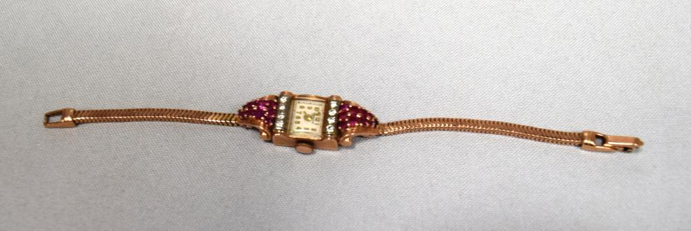 14KT ROSE GOLD RUBY AND DIAMOND DECO LADY'S WRISTWATCH: