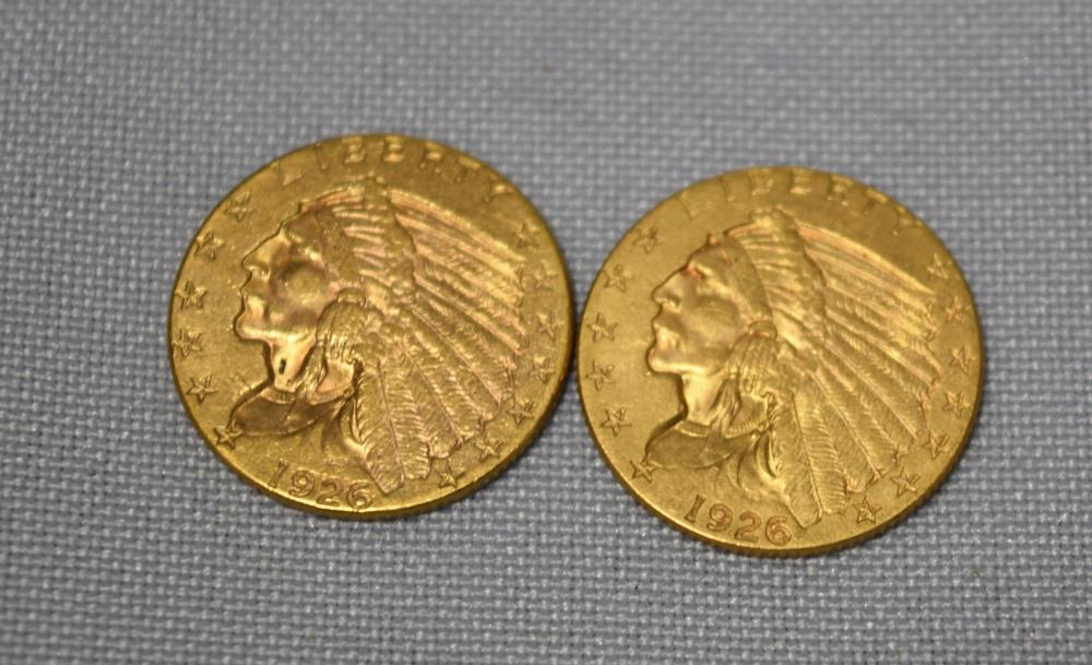 TWO 1926 TWO AND A HALF DOLLAR GOLD COINS: