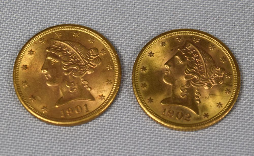 TWO US 1901 & 1902 FIVE DOLLAR LIBERTY HEAD GOLD COINS: