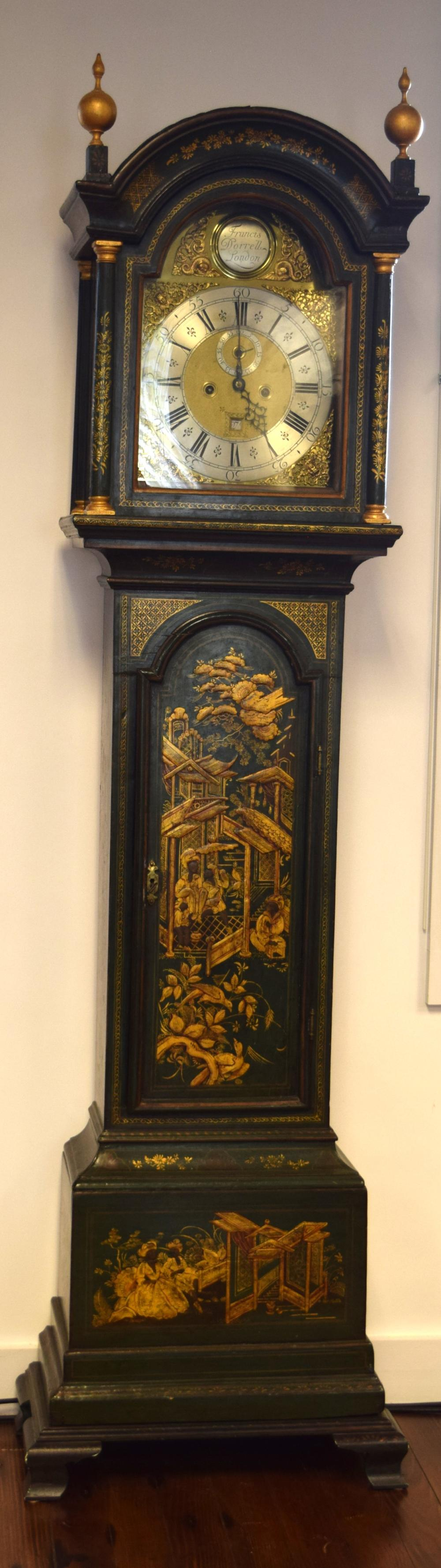 GEORGE III FRANCIS DORRELLI LONDON CHINOISERIE CASE TALL CLOCK: