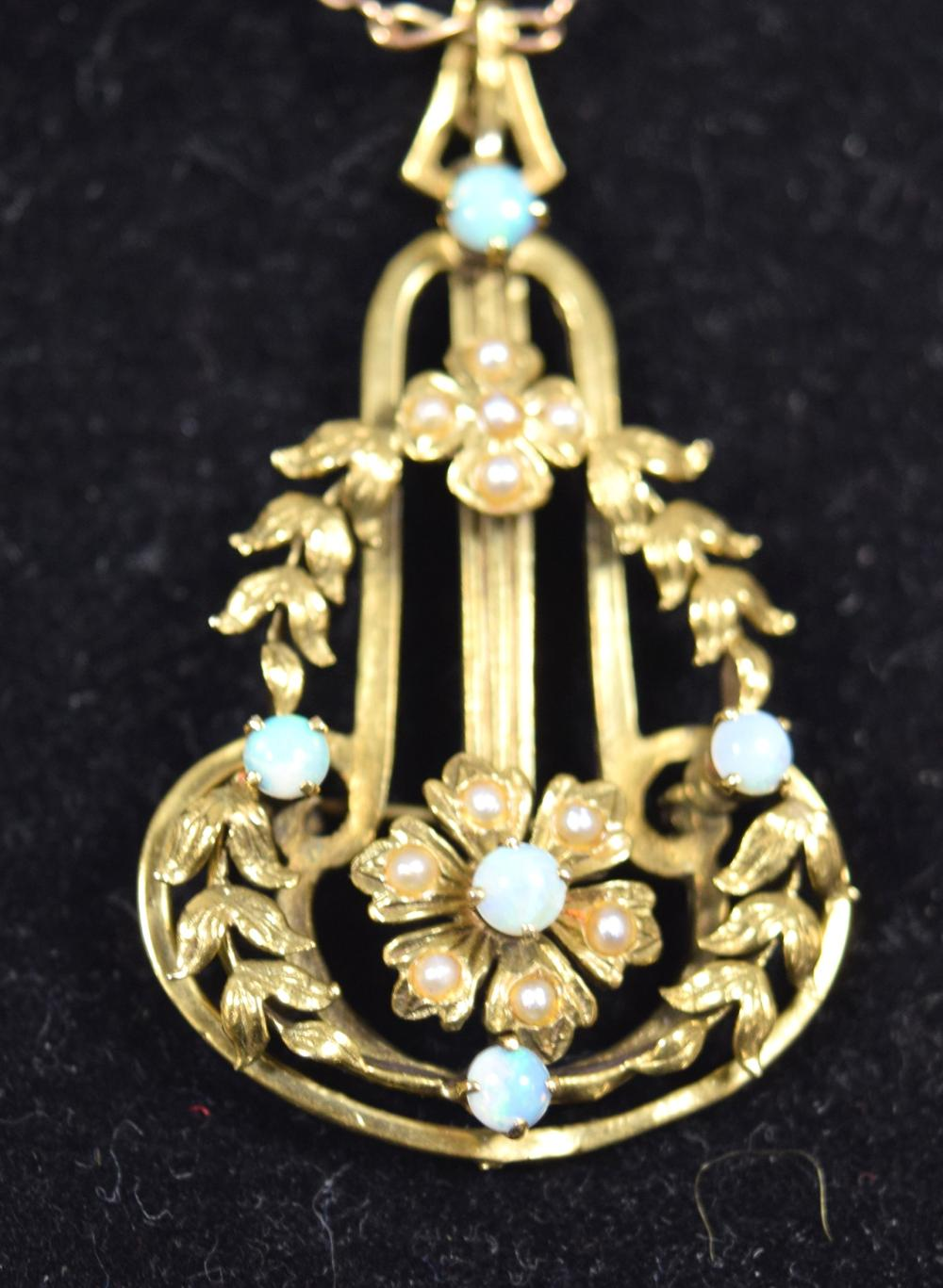 14KT GOLD, OPAL & SEED PEARL PEARL NECKLACE: