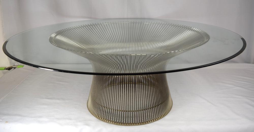 WARREN PLATNER MID CENTURY GLASS TOP COFFEE TABLE:
