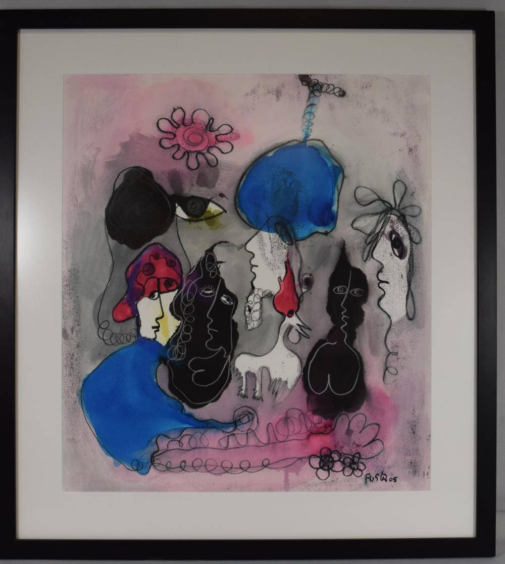 JOSE FUSTER 2005 ABSTRACT WATERCOLOR & INK PAINTING: